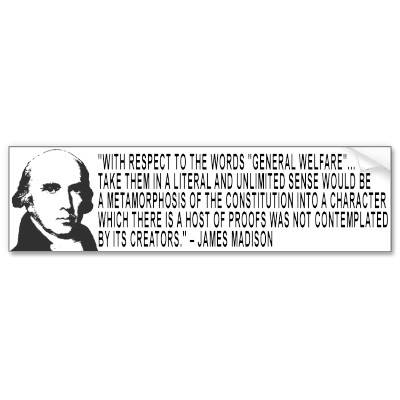 Madison general welfare clause quote