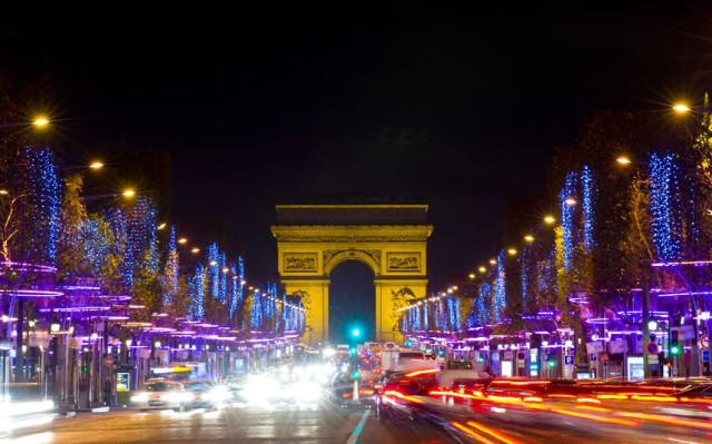 Christmas illuminations line the Champs Elysees in Paris