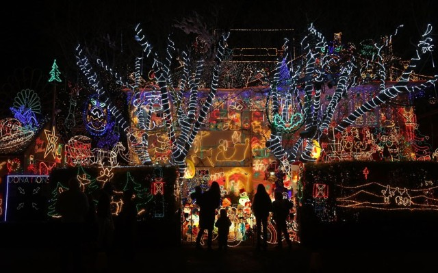 christmas lights - house in Melksham, Wiltshire, England