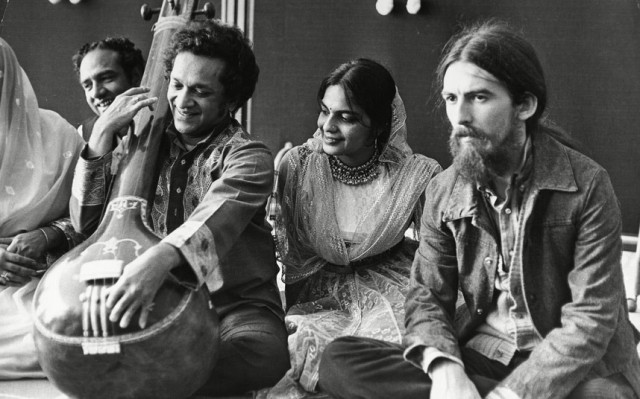 George Harrison (right) had grown fascinated with the sitar, Shankar (left)