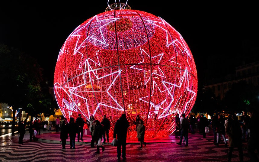 giant illuminated Christmas bauble on Rossio square in Lisbon