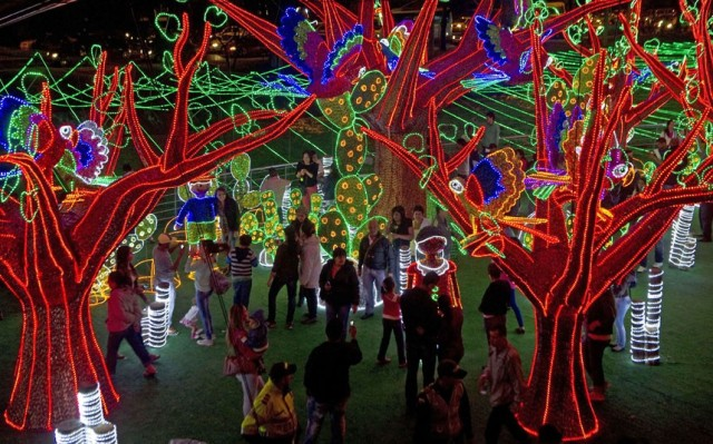 Medellin's annual display uses millions of bulbs over a huge area of the city