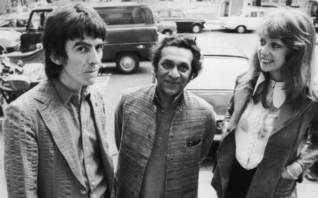Ravi Shankar with Beatle George Harrison and his wife, model Patti Boyd