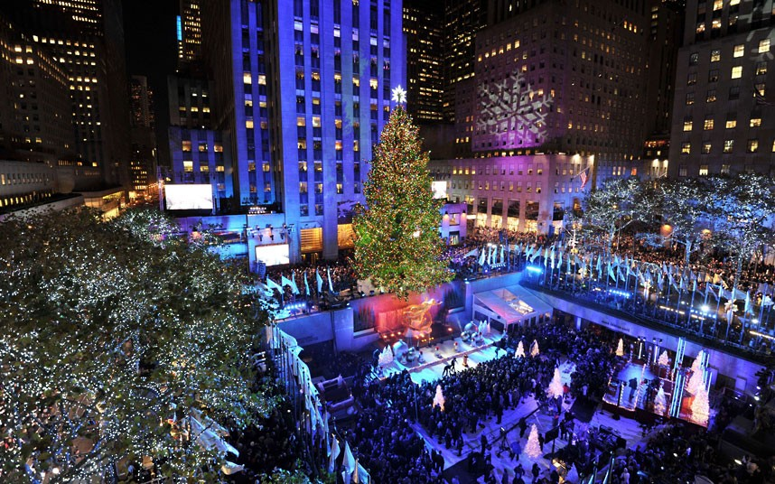 The Rockefeller Center Christmas tree in New York is lit